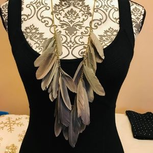 Gray Feather Necklace